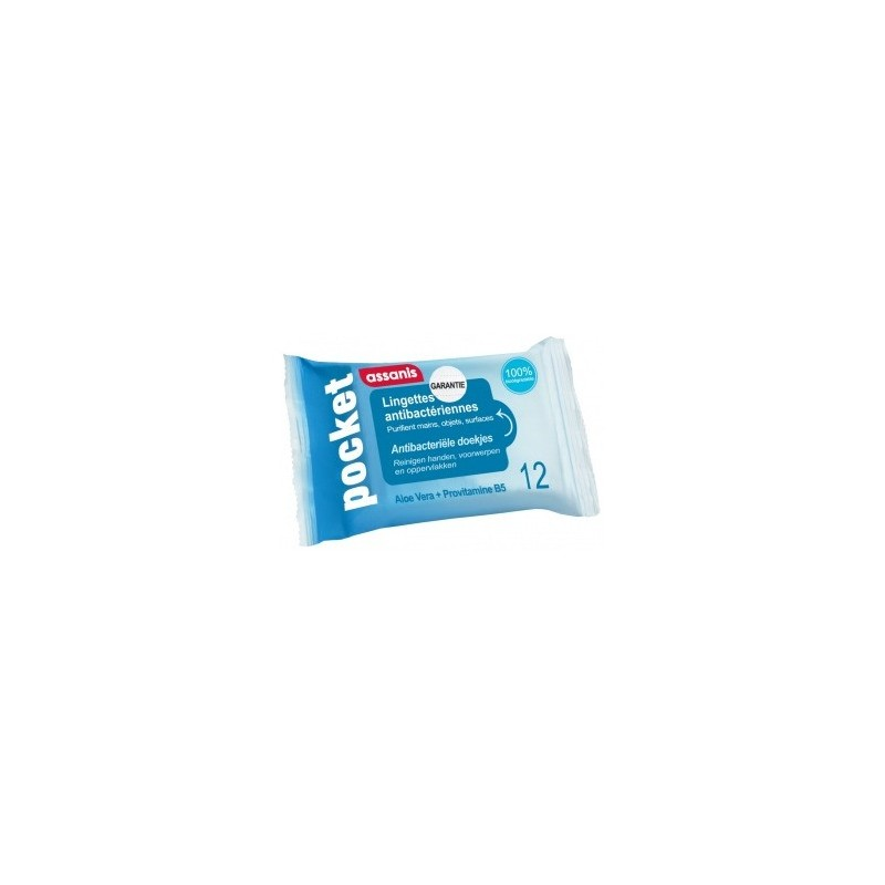 Lingettes Antibactériennes - 12 lingettes désifectantes mains/surfaces/objets
